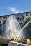 Pitesti town center. Pitesti city center fountain against blue sky Stock Photography