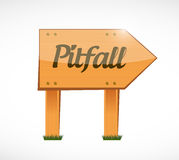 Pitfall wood sign illustration design Royalty Free Stock Image