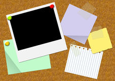 Pith board with sheets of a paper and a photo Stock Photography