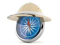 Pith helmet with compass. Isolated on white background Royalty Free Stock Image