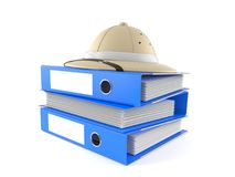Pith helmet with folders. Isolated on white background Stock Photography