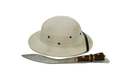 Pith Helmet and hunting knife Stock Photos