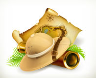 Pith helmet. Treasure map. Adventure vector icon Stock Images