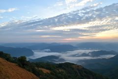 Beautiful sky and mountain landscape  Mae Hong Son ,Thailand Stock Images