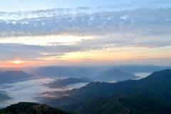 Morning mountain and mist  Beautiful Landscape at  Maehongson ,Thailand Stock Photos