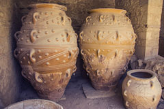 Pithoi Bagageopslag in oud Griekenland Royalty-vrije Stock Foto