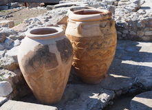 Pithoi Or Minoan Pottery Vessels. At Knossos Crete  Greece Royalty Free Stock Photos