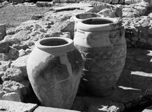 Pithoi Or Minoan Pottery Vessels. At Knossos Crete  Greece Stock Image