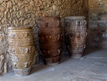 Pithoi Or Minoan Pottery Vessels. At Knossos Crete  Greece Stock Photography