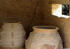 Pithoi Or Minoan Pottery Vessels. At Knossos Crete  Greece Royalty Free Stock Photography