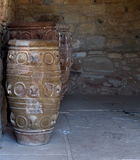 Pithoi Or Minoan Pottery Vessels. At Knossos Crete  Greece Royalty Free Stock Images