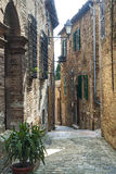 Piticchio (Marches, Italy). Piticchio (Ancoina, Marches, Italy) - Medieval village, a street Stock Photo