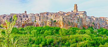 Pitigliano - city on the clif in Italy. Panorama of the Pitigliano - city on clif in Italy Royalty Free Stock Image