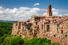 Pitigliano city on the cliff in summer Royalty Free Stock Images