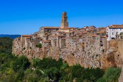 Pitigliano medieval town in Tuscany Italy. Architecture background stock image