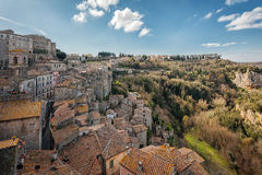 Sorano. Old town in province of Grosseto, Italy. Sorano medieval town on tuff rocky hill. Panorama landscape. Italy, Europe Stock Photography