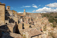 Sorano. Old town in province of Grosseto, Italy. Sorano medieval town on tuff rocky hill. Panorama landscape. Italy, Europe Stock Photos
