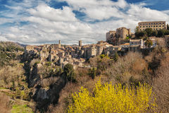 Sorano. Old town in province of Grosseto, Italy. Pitigliano medieval town on tuff rocky hill. Panorama landscape. Italy, Europe Royalty Free Stock Image