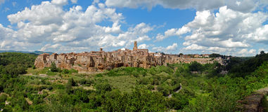 Pitigliano panorama. Panorama of medieval town Pitigliano in Italy Royalty Free Stock Photo