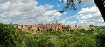 Pitigliano panorama 02. Panorama of medieval town Pitigliano in Italy Royalty Free Stock Photos