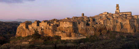 Pitigliano in the red light of royalty free stock images