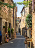 Pitigliano streets with old tuf homes, Italy Royalty Free Stock Photo