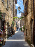 Pitigliano streets with old tuf homes, Italy Stock Photography