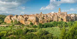 Panoramic sight of Pitigliano in a sunny summer afternoon. Province of Grosseto, Tuscany, Italy. Pitigliano is a town in the province of Grosseto, located about Royalty Free Stock Photos