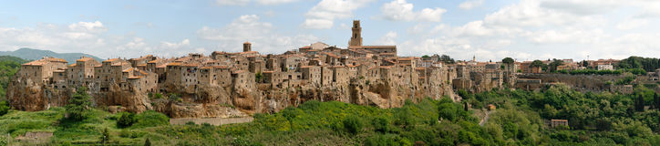 Pitigliano in Tuscany. Overview of the village of Pitigliano in Tuscany built on tuff Royalty Free Stock Images