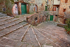 Pitigliano, Tuscany, Italy: ancient staircase in the old town Stock Photos