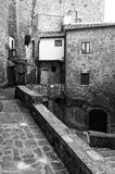 Pitigliano, Tuscany, old city. Black and white photo Stock Photography