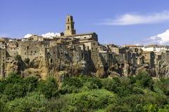 Pitigliano, Tuscany, stary miasto koloru córek wizerunku matka dwa Fotografia Royalty Free