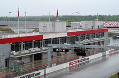 Pitlane και κιβώτια moscowraceway autodrome Στοκ εικόνα με δικαίωμα ελεύθερης χρήσης