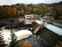 Pitlochry fish ladder and dam. Damming up the river Tummel and forming loch Faskally Royalty Free Stock Image