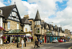 Pitlochry main street in Scotland Stock Photo