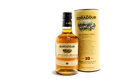 Pitlochry , Scotland - January 31 2018 : The Edradour distillery is the smalles Single Malt Distillery of the world. Isolated on white royalty free stock photos