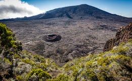 Piton de Ла Fournaise обрушился кратер Стоковые Изображения RF