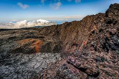 Piton de La Fournaise collapsed crater. Crater of the piton the La fournaise. The crater collapsed because of many eruptions. The Piton de La Fournaise is one Stock Images