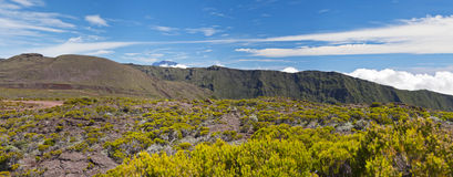 Piton des Neiges landscape. Panoramic view of volcanic landscape of Reunion Island with Piton des Neiges in background stock image