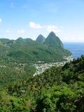 Pitons de St Lucia fotos de archivo libres de regalías