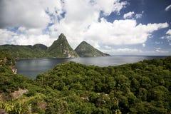 Pitons dello St Lucia Fotografia Stock Libera da Diritti