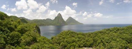 Pitons dello St Lucia Fotografie Stock Libere da Diritti