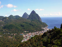 Pitons du St Lucia photo stock