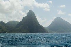 Pitons i morze w St Lucia Fotografia Royalty Free