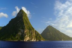 Pitons Mountains. The Pitons, St. Lucia, West Indies Stock Photography