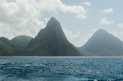 Pitons and Sea in St. Lucia royalty free stock photography