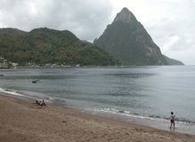 Pitons of St. Lucia. The Pitons in St. Lucia Stock Photo