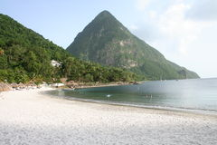 The Pitons in St Lucia Stock Image