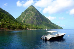 The Pitons in St Lucia Royalty Free Stock Photos
