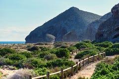 Pitoresco Playa de Los Muertos spain foto de stock